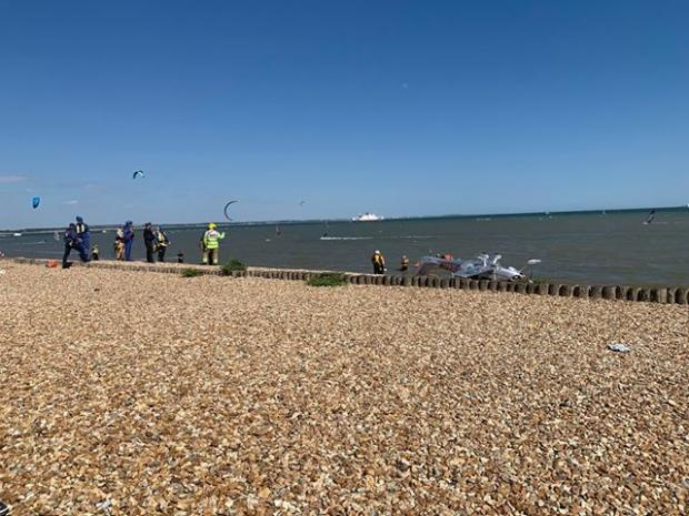 "Daily Echo: A ""small"" aircraft crashed into the sea at Calshot Spit. Photo:Christina Grindey"