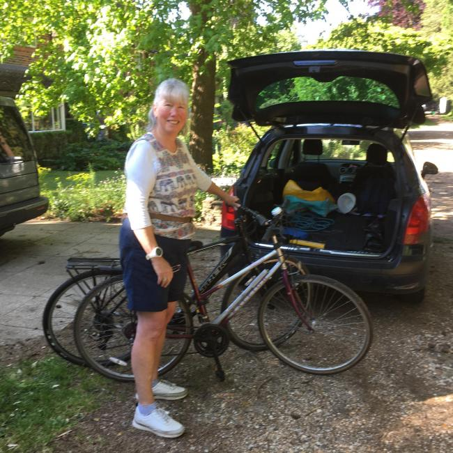 Katherine Barbour with donated bicycles