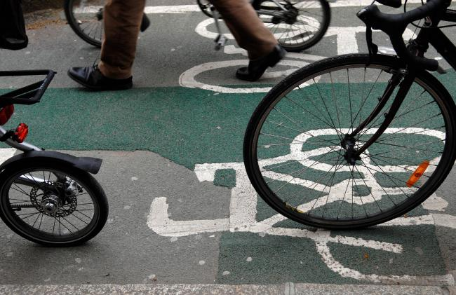 PAIMAGES A cycle lane in central London..