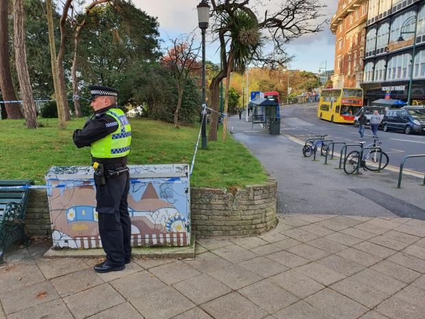 Daily Echo: A police officer at Bournemouth Lower Gardens next to Gervis Place in the town centre.