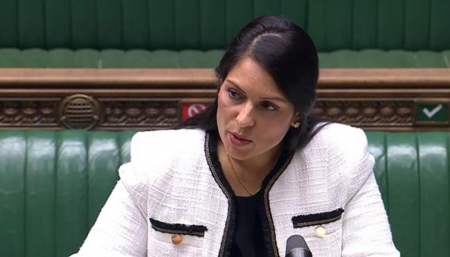 Home Secretary Priti Patel updates MPs in the House of Commons, London, on the situation in Reading following the multiple stabbing attack in Forbury Gardens on Saturday.  PA Photo. Picture date: Monday June 22, 2020. See PA story POLICE Reading. Photo cr