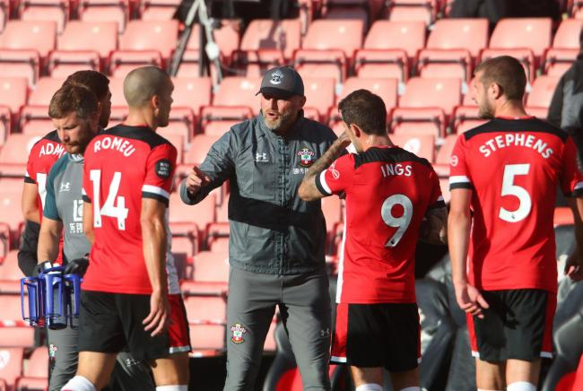 Ralph Hasenhuttl instructs his side against Man City (Pic: Stuart Martin)