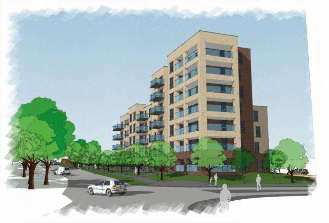 An artist's impression of new homes in Townhill Park