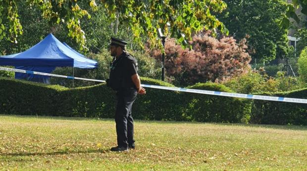 Daily Echo: Officers carry out investigations in East Park, Southampton on Friday morning