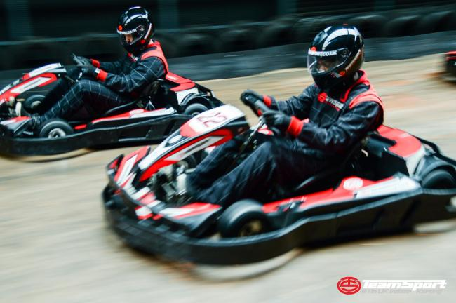 Go Karts racing on the track