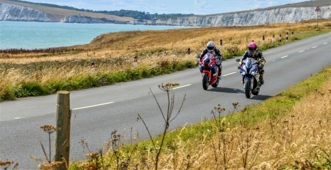 Steve Plater and James Hillier, trying out the Military Road near Freshwater. The Military Road will feature as part of the Diamond Races circuit next year.