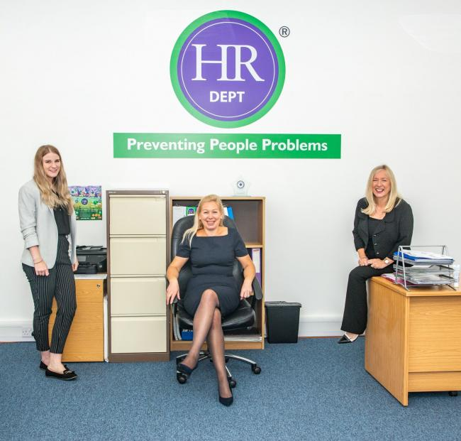 Members of the HR Dept Solent team, l-r, Issy Dyson, managing director Deborah Whitcomb and Myfanwy Williams