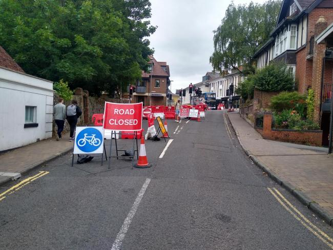 The current closure of the junction of Hyde Street and North Walls, sparking objections