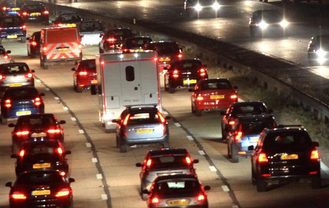 Traffic on the M27. Stock image.