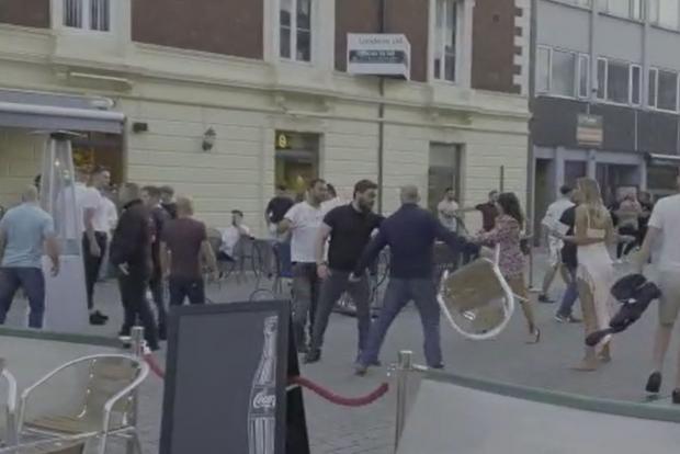 Daily Echo: Brawl erupts outside the Mailroom, Southampton