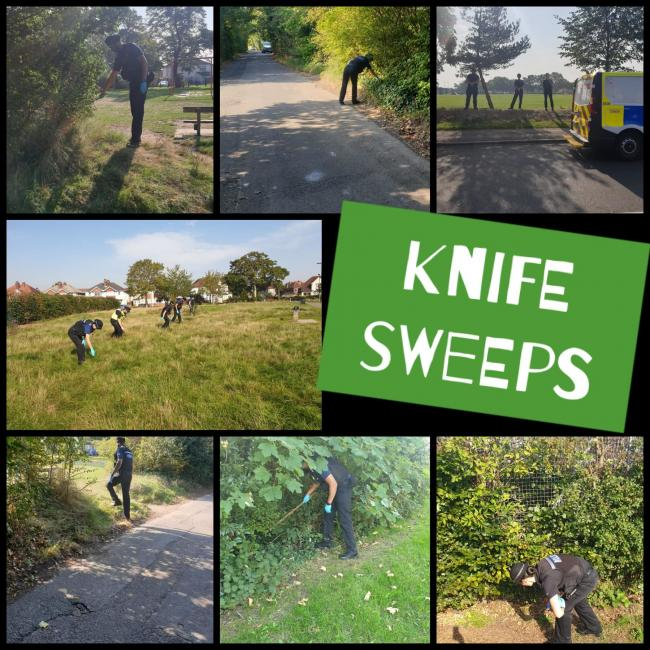 Police searched Southampton parks for hidden weapons. Image: Southampton Cops.