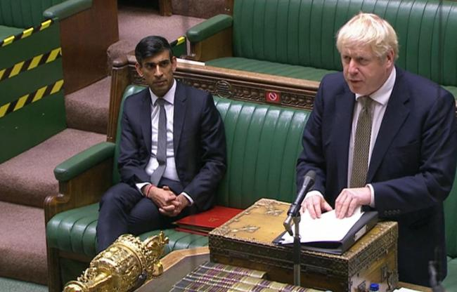 Prime Minister Boris Johnson making a statement in the House of Commons.