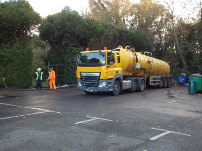 Sewage tankers at New Road Car Park in Hythe.
