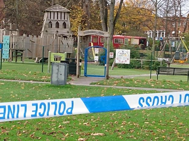 Daily Echo: Police remain at Houndwell Park, Southampton this afternoon