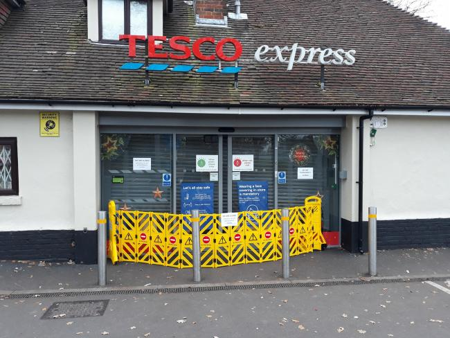 Tesco Express in Lordswood Road was shut after thieves broke in during the early hours of November 30, 2020
