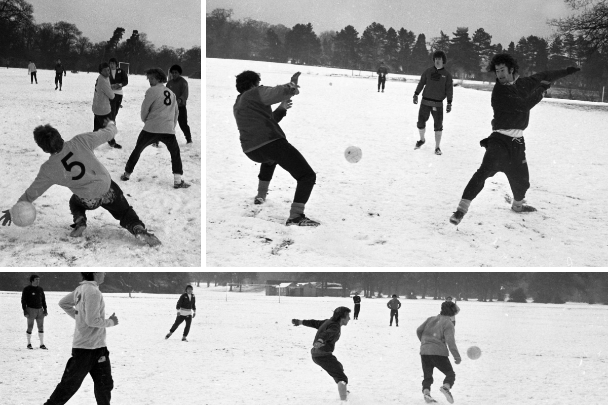Saints training in snow on Southampton Common in 1979