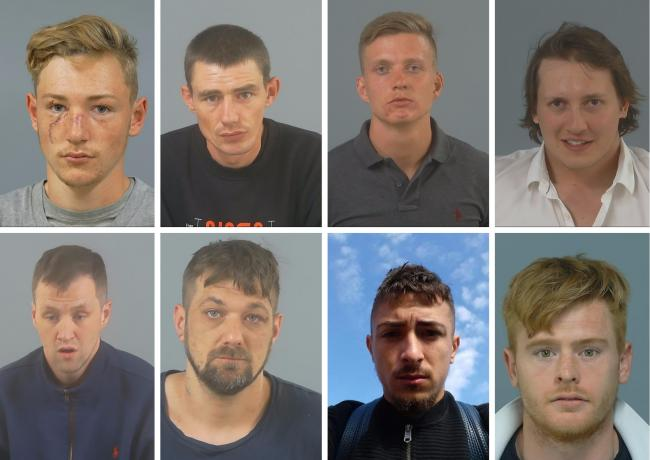 Top row (left to right): Billy Broomfield, Paul Collins, Lewis Lawbuary and Sam Eades-Scott; Bottom row (left to right) Shaun Blything, Robert Yeo, Jake Baldacchino and Michael Sadler