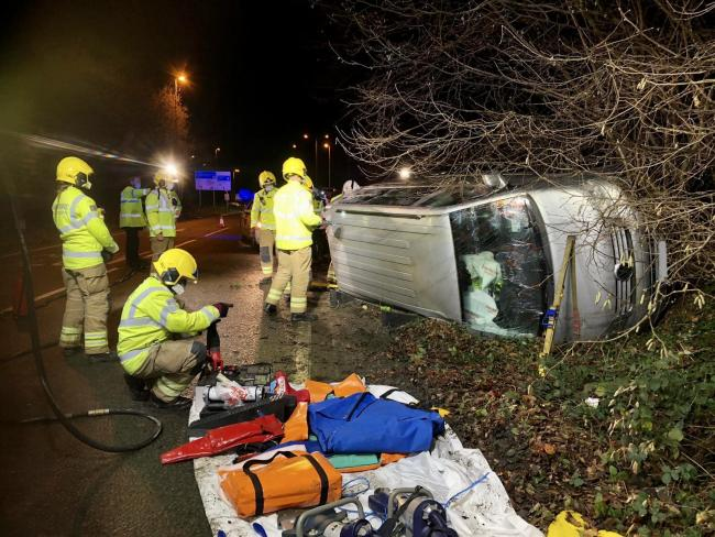 Man  rescued after flipping van on Southampton road