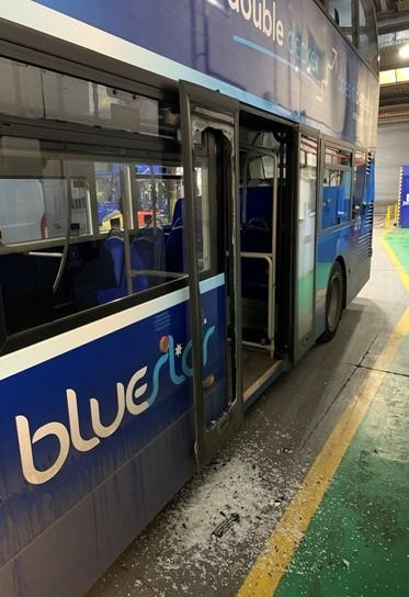 The damage caused to one Bluestar vehicle after it was targeted by