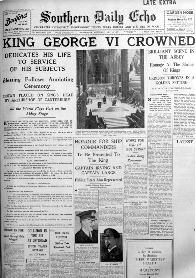 Coronation of King George VI. Front page of The Southern Daily Echo May 13th 1937