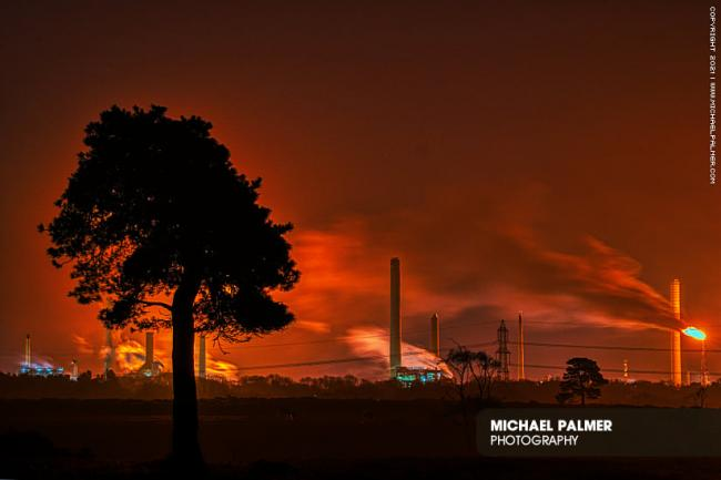Flaring at Fawley Refinery on Thursday, February 20. Picture: by Daily Echo Camera Club member Michael Palmer