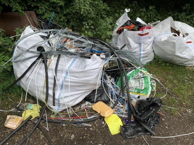 The fly-tipped waste in Stoneymarsh car park in Romsey.