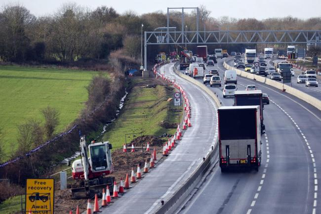 "File photo dated 27/1/2010 of work continues near Wokingham, Berkshire, on turning the M4 Motorway into a digital Mototway. Britain's so-called smart motorways have been branded a ""death trap"" by MPs in a report which has prompted criticism"