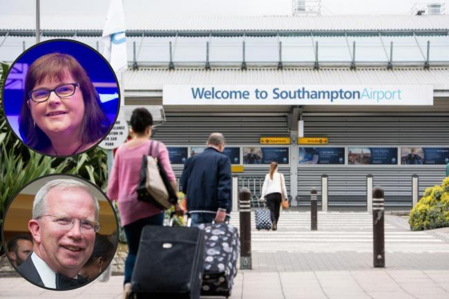 Southampton Airport with inset Brian Johnson, chair, and Anne-Marie Mountfield,chief executive, of Solent LEP