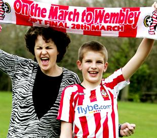 PROUD: Saints mascot Matthew Hughes will walk out at Wembley with saints captain, Kelvin Davis