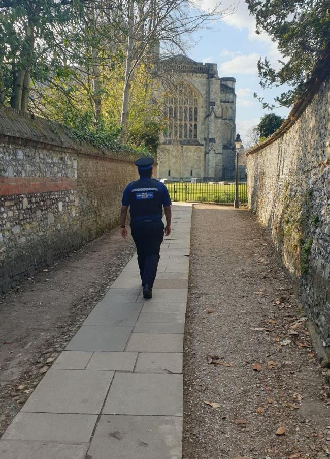 Police are patrolling Winchester city centre, invludiong the grounds of the cathedral. Picture: Winchester Cops.