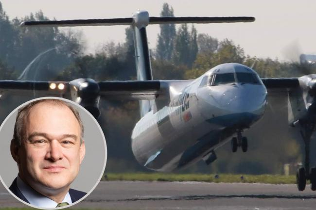 Southampton airport and, inset, Ed Davey