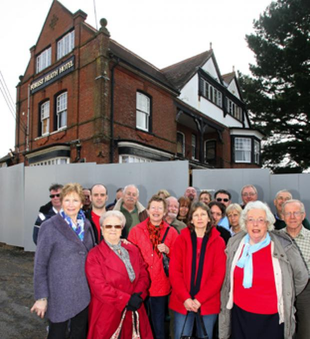THOSE AGAINST: Villagers do not want the Forest Heath Hotel at Sway turned into flats. Echo pictures by Joanna Mann. Order no: 10122369