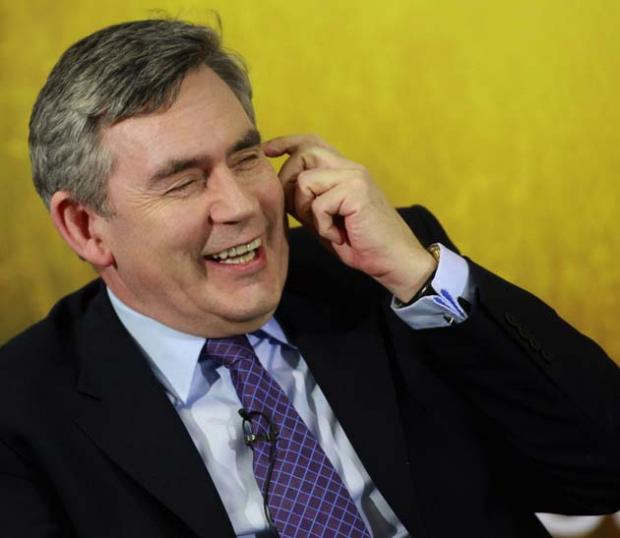 Gordon Brown during his visit to Southampton Solent University