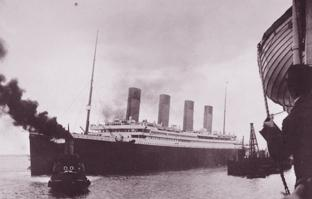 DEPARTURE: A rare black and white image of Titanic as she departs Southampton on her maiden voyage, April 10 1912.