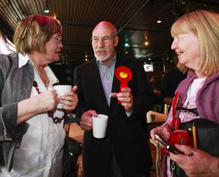 GREETINGS: Patrick Stewart with local Labour campaigners Mary Sissons and Eileen Wharam.	                                                                                                   Echo pictures by Stuart Martin. Order no: 10348730