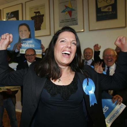 Caroline Nokes dances after her election victory