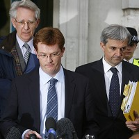 Liberal Democrats Chris Huhne (right) and Danny Alexander after talks with the Conservatives