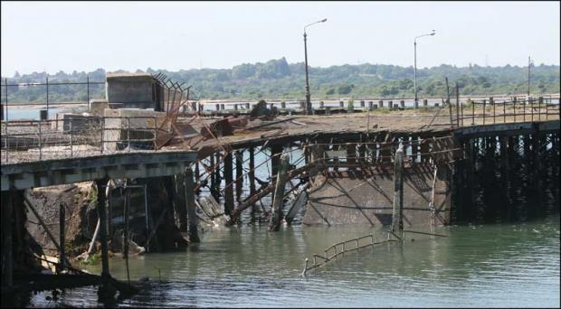 The collapsed section of Southampton's Royal Pier