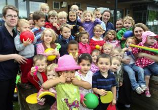 Woodlands Nursery and Pre-school enjoy sports equipment with Haven giveaway