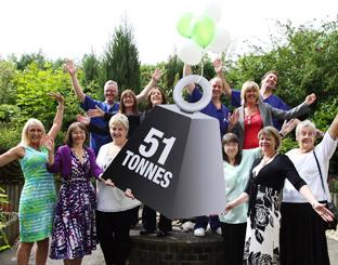 Patients, surgeons and staff at The Spire Hospital in Southampton celebrate the milestone in weight loss.