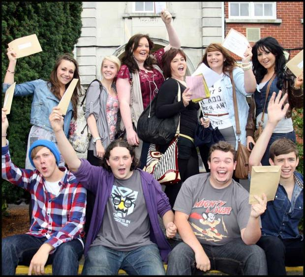 Itchen College students celebrate their results today.
