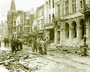 Scenes of devastation in Southampton following the Luftwaffe raids of November 1940.