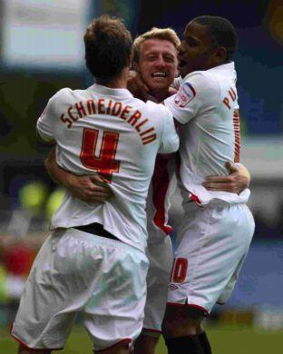 Lee Barnard celebrates his goal