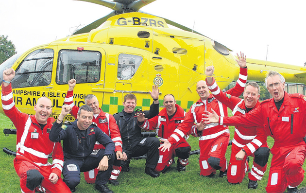 The Hampshire and Isle of Wight Air Ambulance crew with their new helicopter