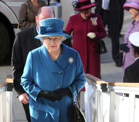 Her Majesty The Queen names the new Cunard liner Queen Elizabeth in Southampton docks