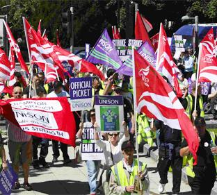FLASHBACK: A UNISON rally heads towards the Civic Centre back in 2008.