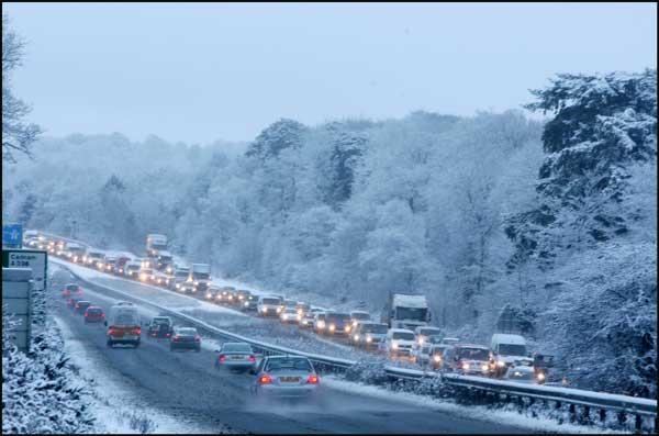 Traffic queues coming off the M27 this morning as snow covered Hampshire.