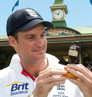 Daily Echo: England captain Andrew Strauss celebrates with the Ashes Urn