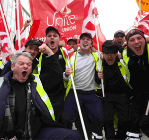 Union members protest in Southampton