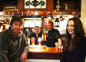 From left, landlord Stuart Hiscock, Paul Richards, chef Jason Lawes, and Anna Howells at the King Charles Inn, Kings Worthy.